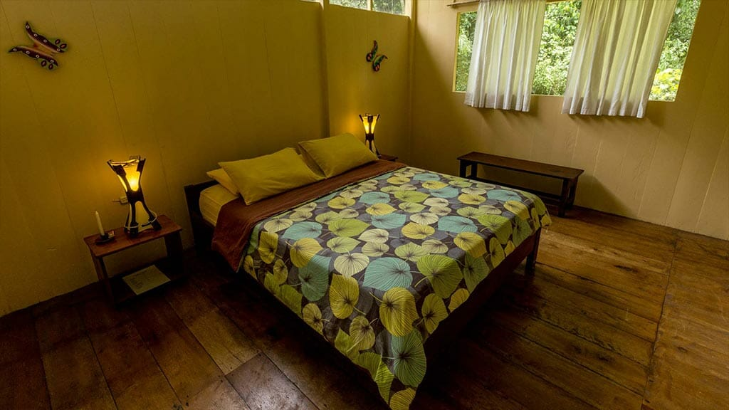 anaconda lodge tena ecuador - double bed guest cabin in the rainforest