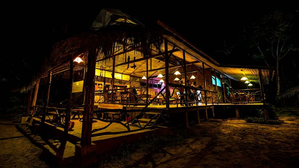 anaconda lodge tena ecuador illuminated at night