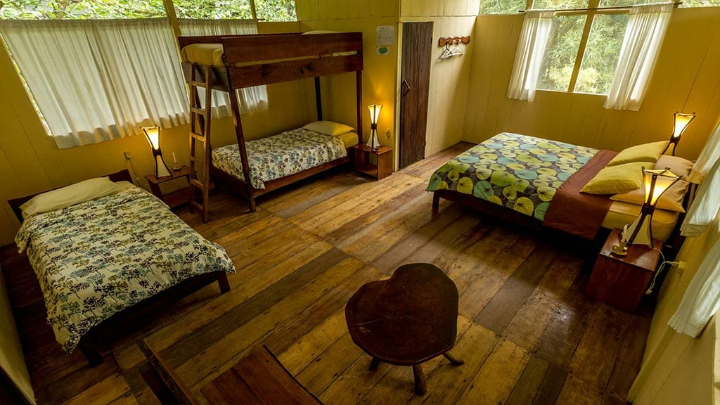 anaconda lodge tena - cuadruple guest room with wooden floors