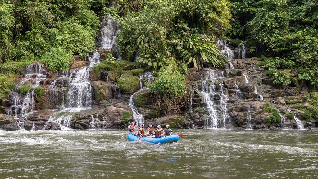 anaconda lodge tena - rafting past waterfalls in the rainforest