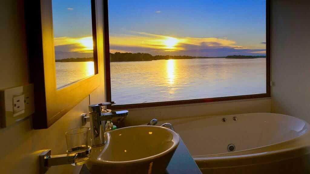 guest bathroom at sunset anakonda river cruise ecuador