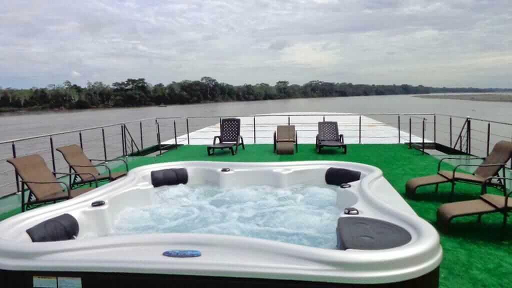 anakonda river cruise ecuador - top deck jacuzzi hot tub and sun loungers