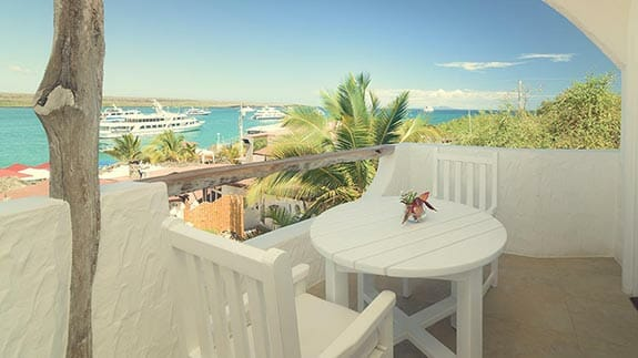 private balcony with ocean views at Angermeter waterfront inn hotel puerto ayora galapagos