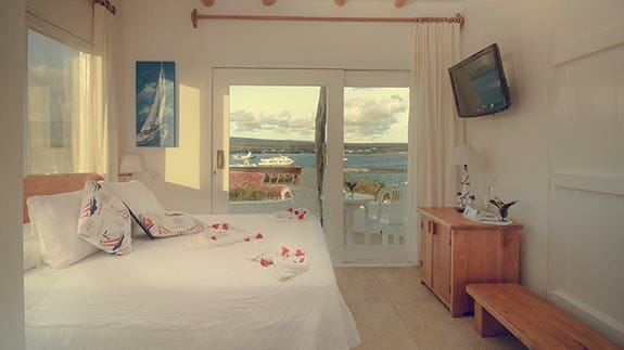 double bedroom with ocean views at Angermeter waterfront inn hotel galapagos