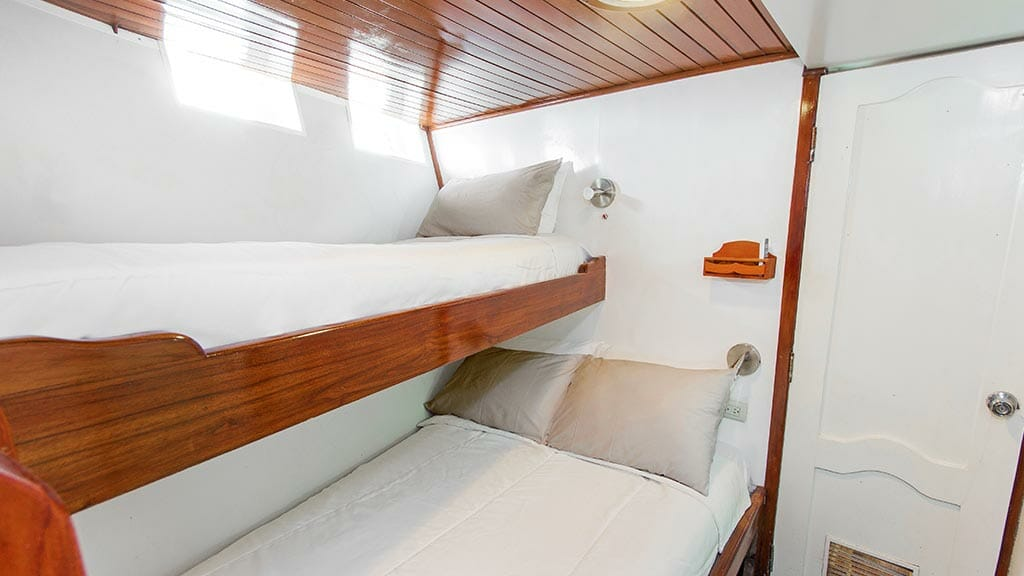 Aqua yacht Galapagos cruise - bunk bed guest cabin with double lower bed and single upper