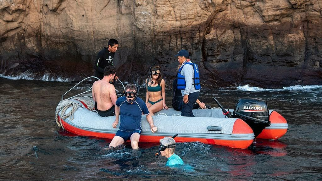 bonita yacht galapagos islands cruise - tourists snorkel from the pang