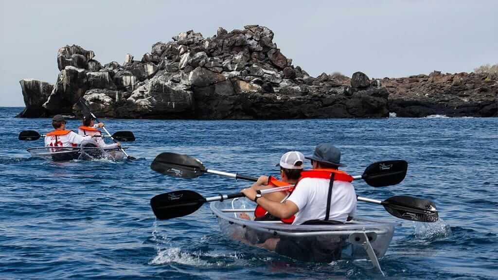 Camila yacht Galapagos cruise - tourists in kayaks get up close to marine bird nesting site