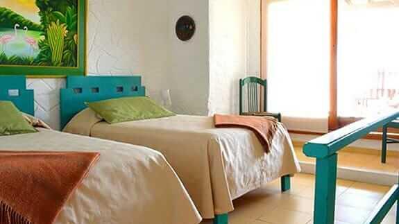 twin bed room at Hotel Casa Marita, Puerto Villamil, Isabela, Galapagos