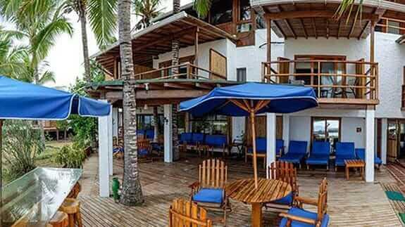 outside decking and loungers Hotel Casa Marita, Puerto Villamil, Isabela, Galapagos
