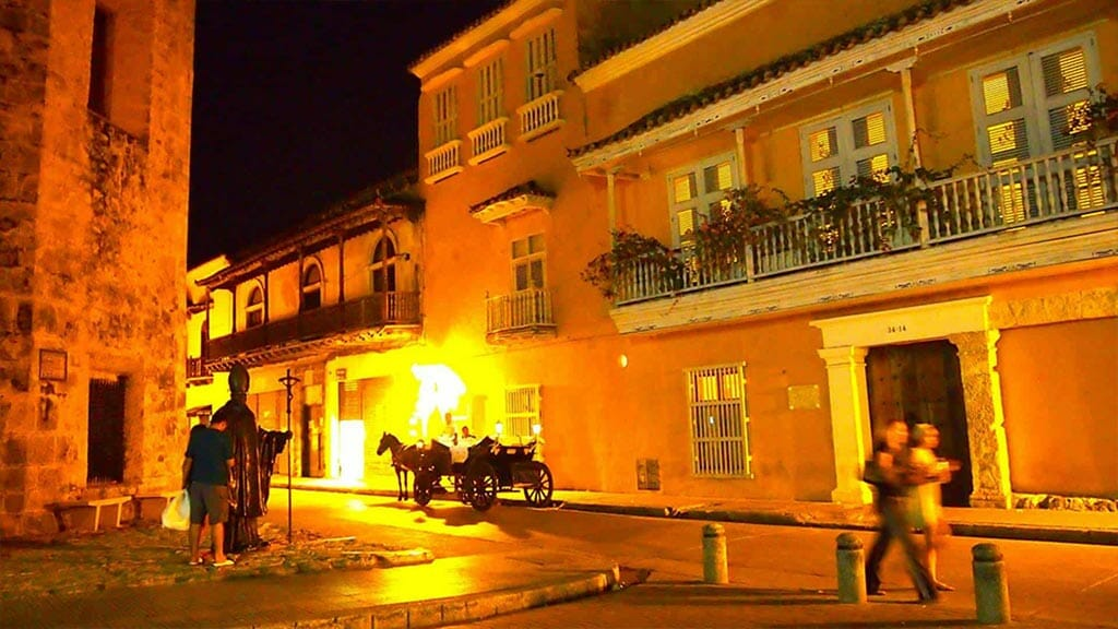 carriage ride at night in colonial cartagena city colombia