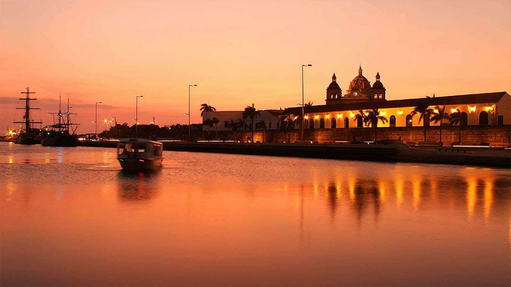 cartagena city colombia lit up at sunset