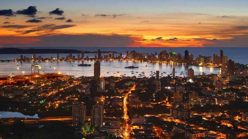Cartagena city colombia lit up at night