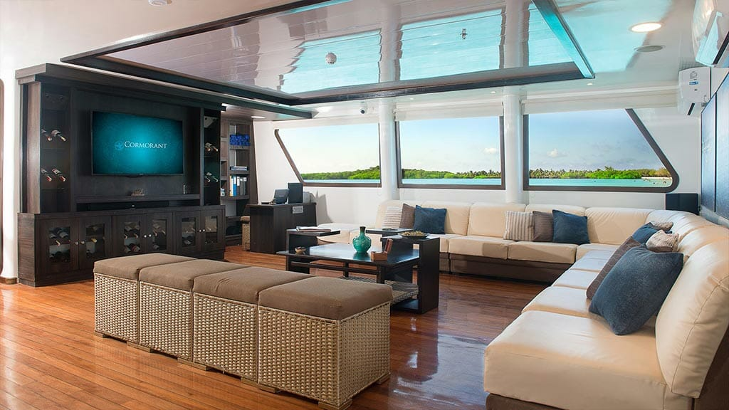 cormorant catamaran yacht galapagos island cruise - social lounge and tv room