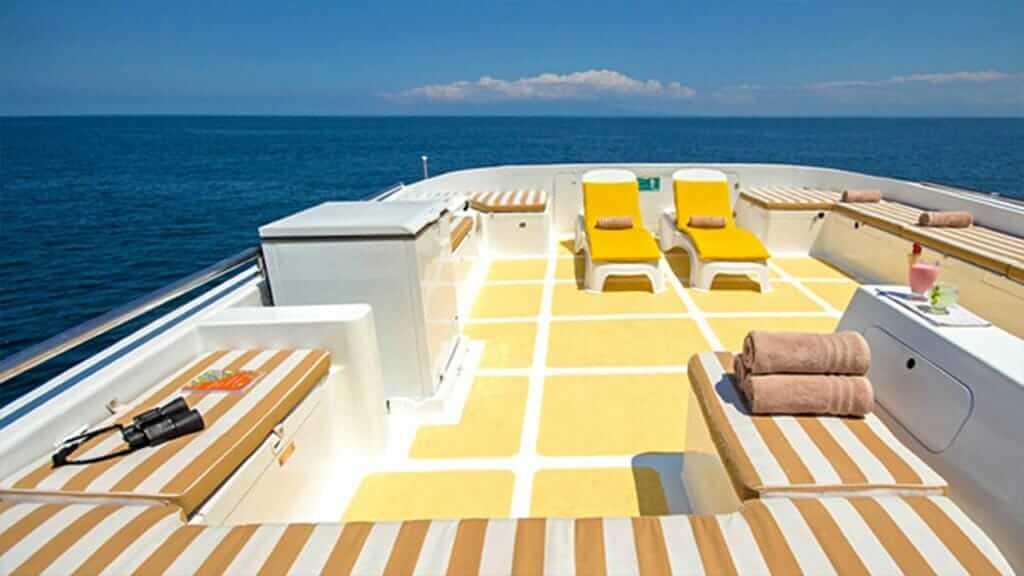 Grand Daphne yacht galapagos island cruise - panoramic sundeck