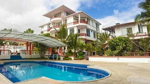 swimming pool at deja vu hotel puerto ayora galapagos islands