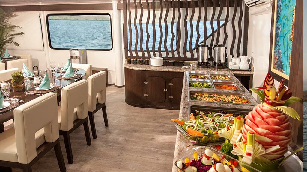 ecogalaxy II catamaran galapagos cruise - delicious buffet of food for dinner