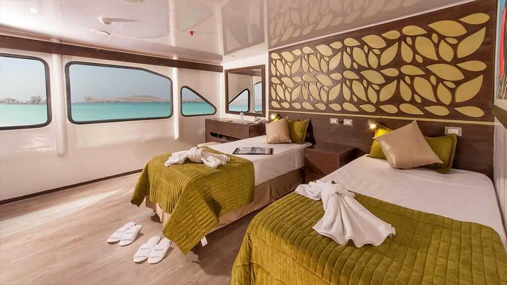 ecogalaxy II catamaran galapagos cruise - spacious twin cabin with large window views