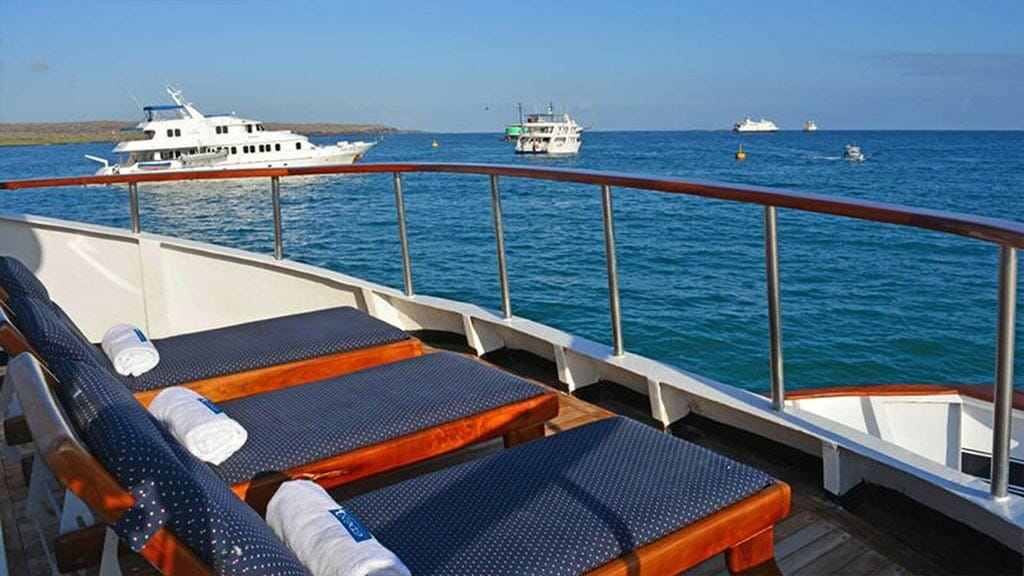 Eden yacht galapagos cruise - sun deck with loungers