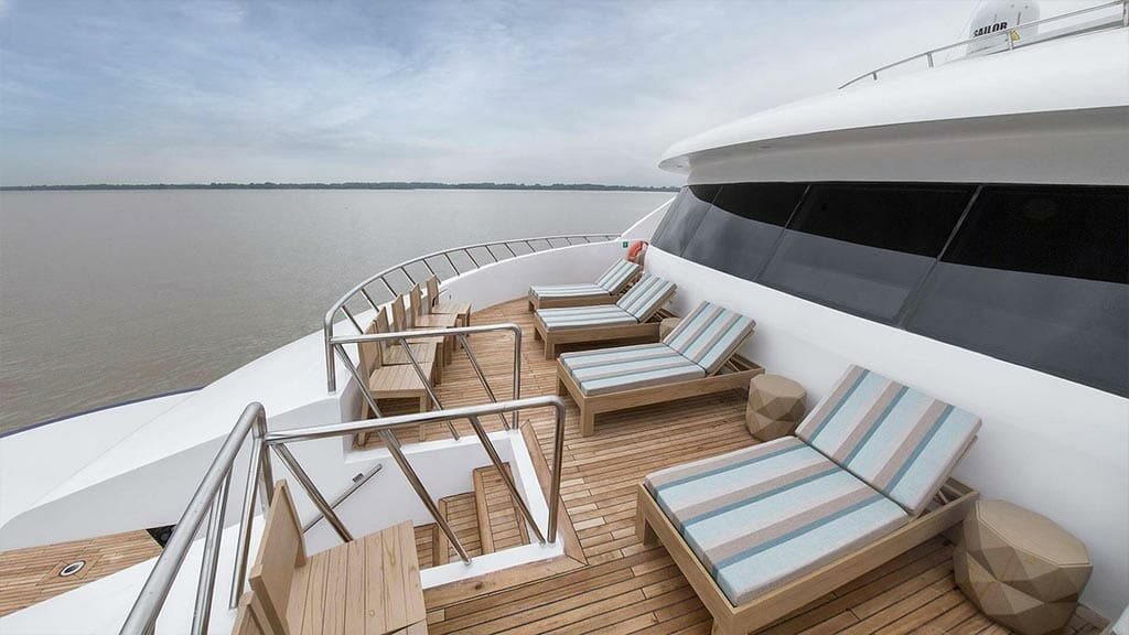 Endemic Yacht Galapagos Cruise - double loungers on sun deck