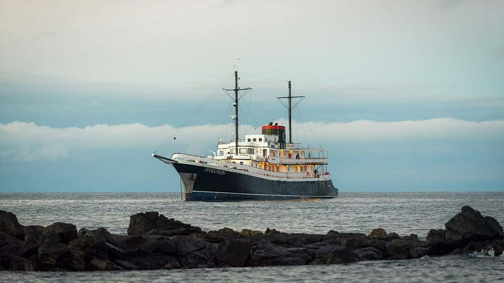 Evolution cruise ship at the Galapagos Islands