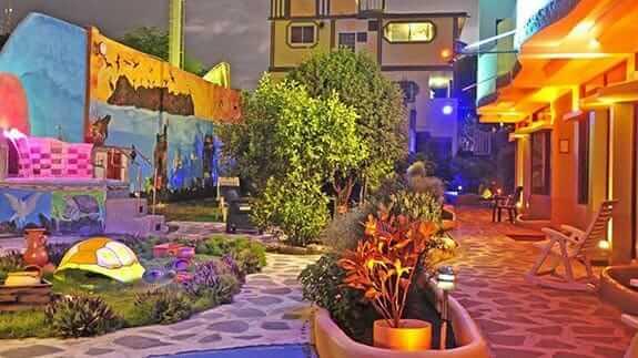 outdoor patio garden at galapagos eco friendly hotel baquerizo moreno