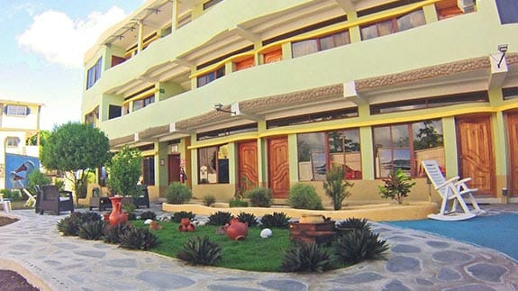 exterior facade of galapagos eco friendly hotel on san cristobal island
