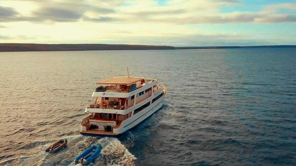 Galapagos Sea Star Journey yacht cruise - rear view of the yacht with pangas