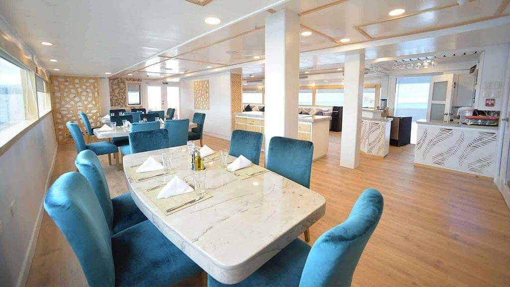Galapagos Sea Star Journey yacht cruise - dining tables