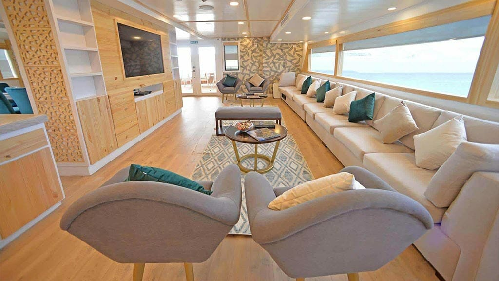 Galapagos Sea Star Journey yacht cruise - social lounge with flat screen tv