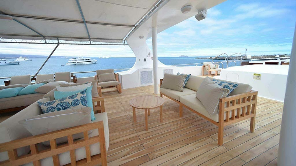 Galapagos Sea Star Journey yacht cruise - open air social lounge area with shade