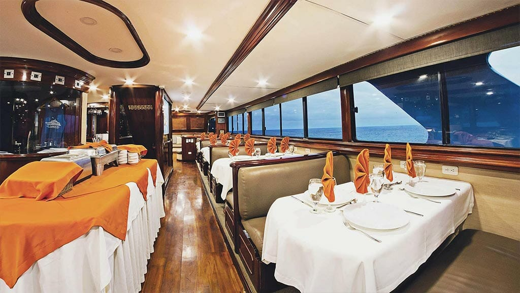 Galapagos Sky yacht liveaboard dive cruise - dining area with buffet service