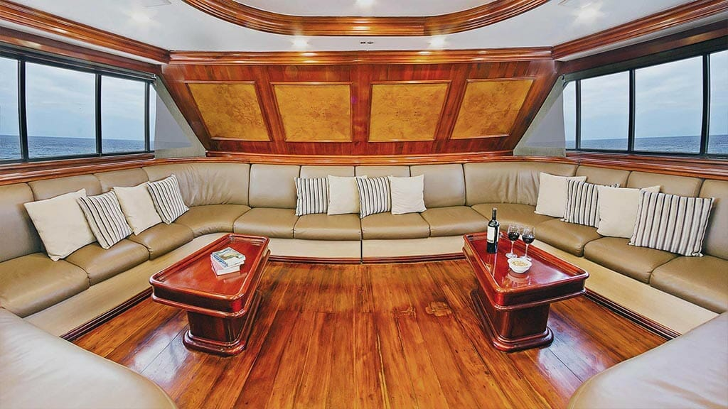 Galapagos Sky yacht liveaboard dive cruise - social lounge area