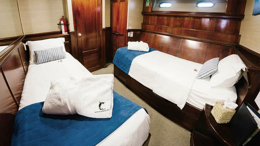 Galapagos Sky yacht liveaboard dive cruise - twin bed guest cabin