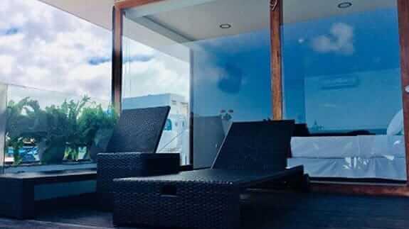 sun loungers at galapagos sunset hotel san cristobal island