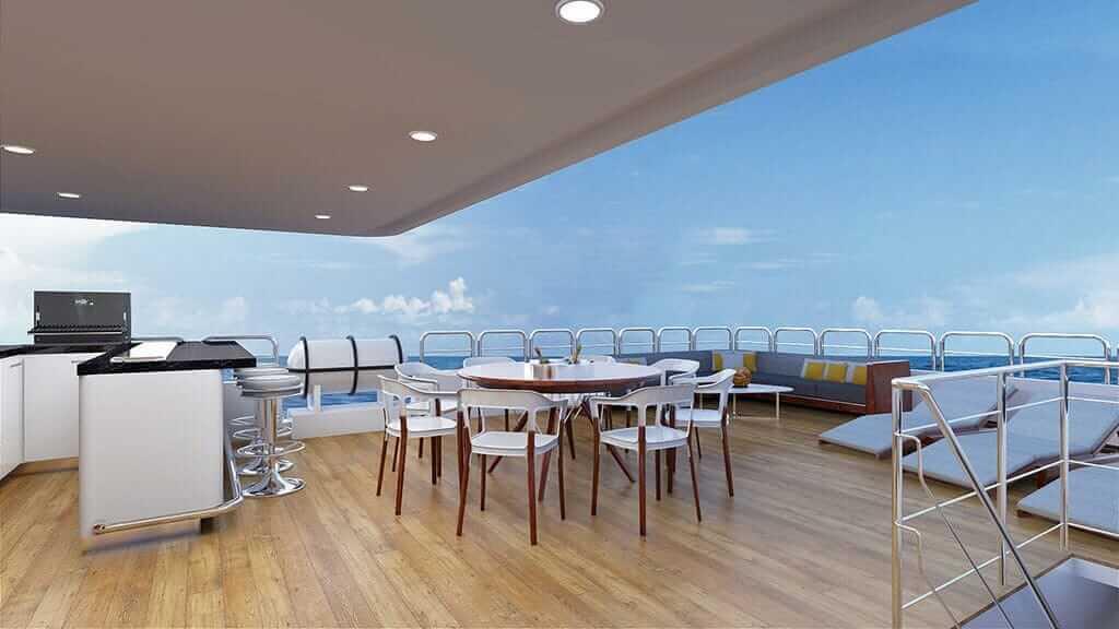 Grand Daphne yacht galapagos island cruise - sundeck and bar area