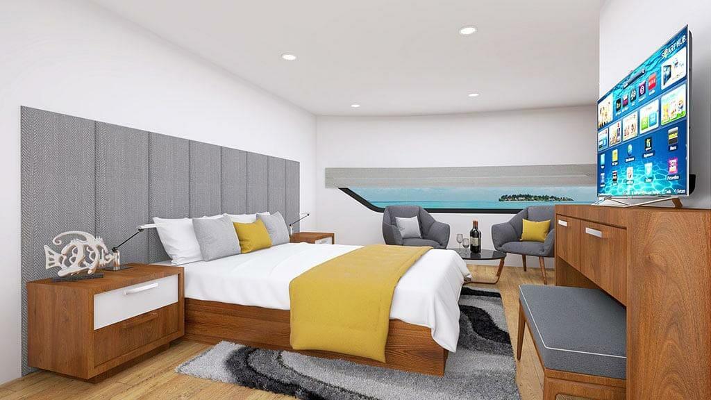 Grand Daphne yacht galapagos island cruise - spacious double bed guest cabin with flat screen tv