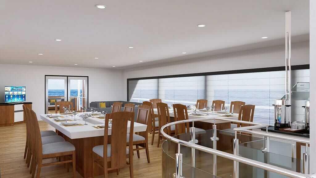 Grand Daphne yacht galapagos island cruise - indoor dining roomarea