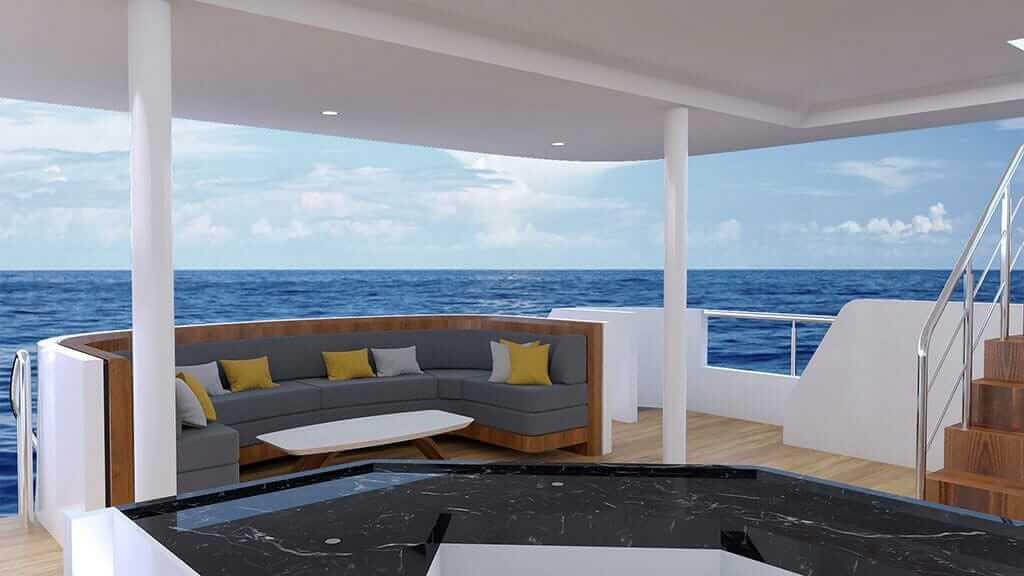 Grand Daphne yacht galapagos island cruise - outdoors lounge area
