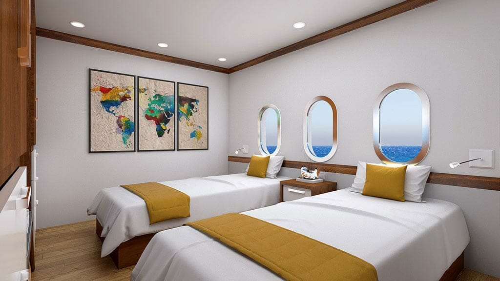Grand Daphne yacht galapagos island cruise - twin bed guest cabin