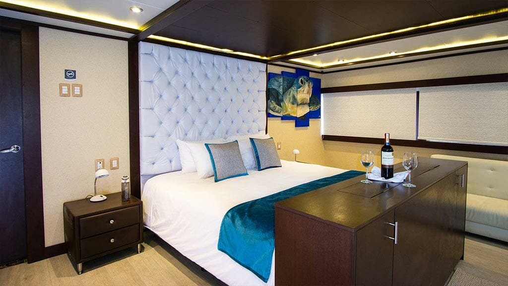 elegant Double bed cabin aboard the Grand Majestic yacht Galapagos cruise