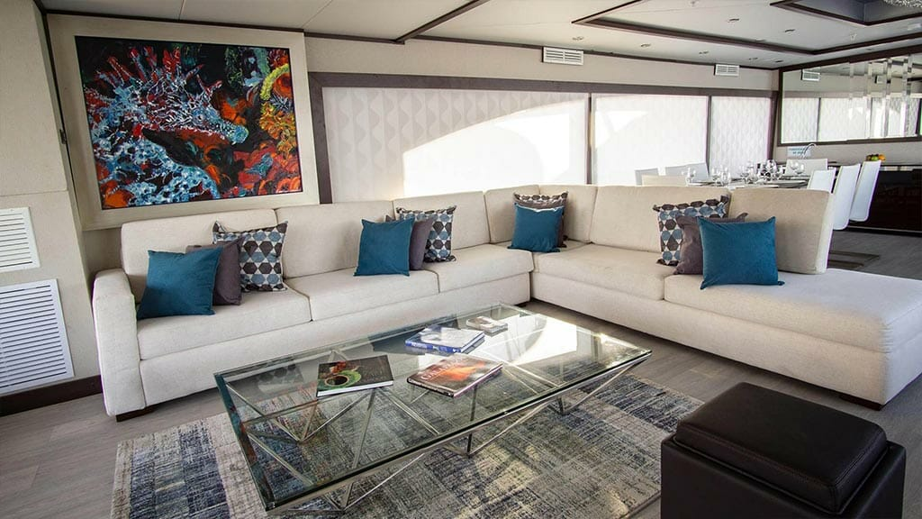 Grand Majestic yacht Galapagos islands - indoor lounge area with sofas, reading material and modern art