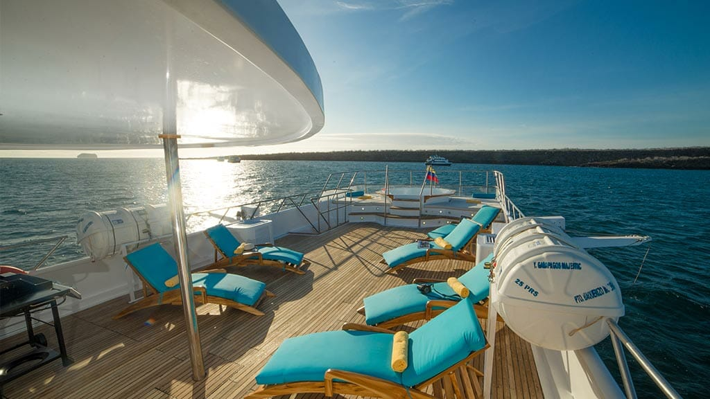 elegant DGrand Majestic yacht Galapagos islands - comfy sun loungers on the panoramic sundeck