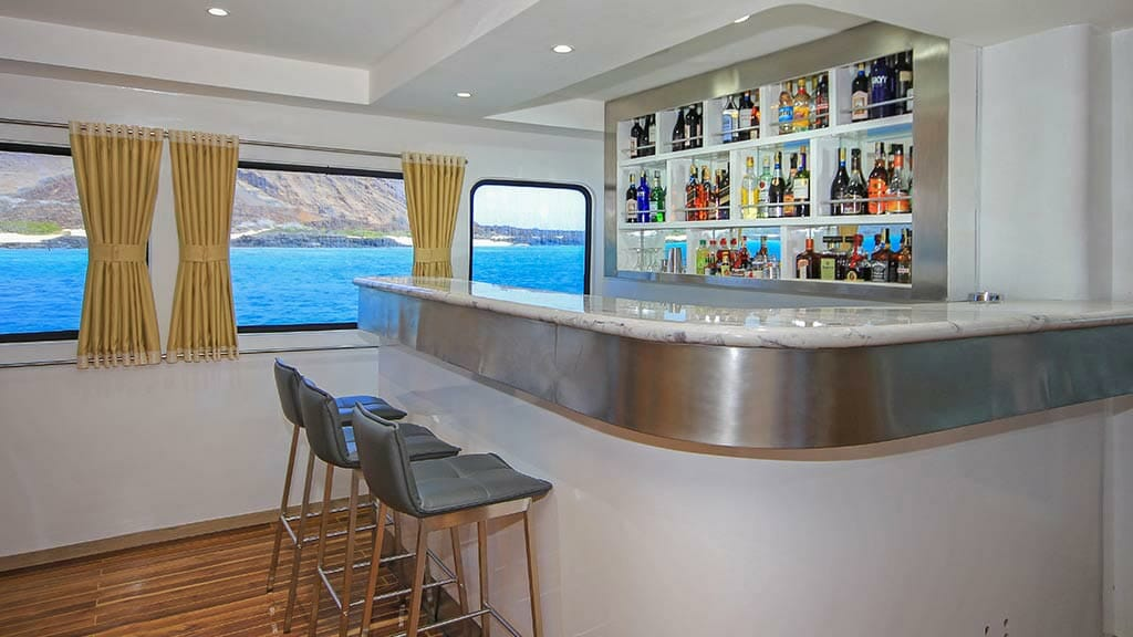 Grand queen beatriz yacht - bar stocked with diverse selection of liquor
