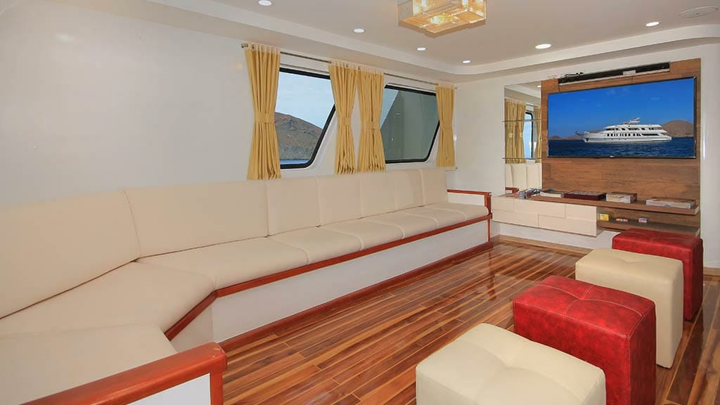 Grand queen beatriz yacht - social lounge area with tv