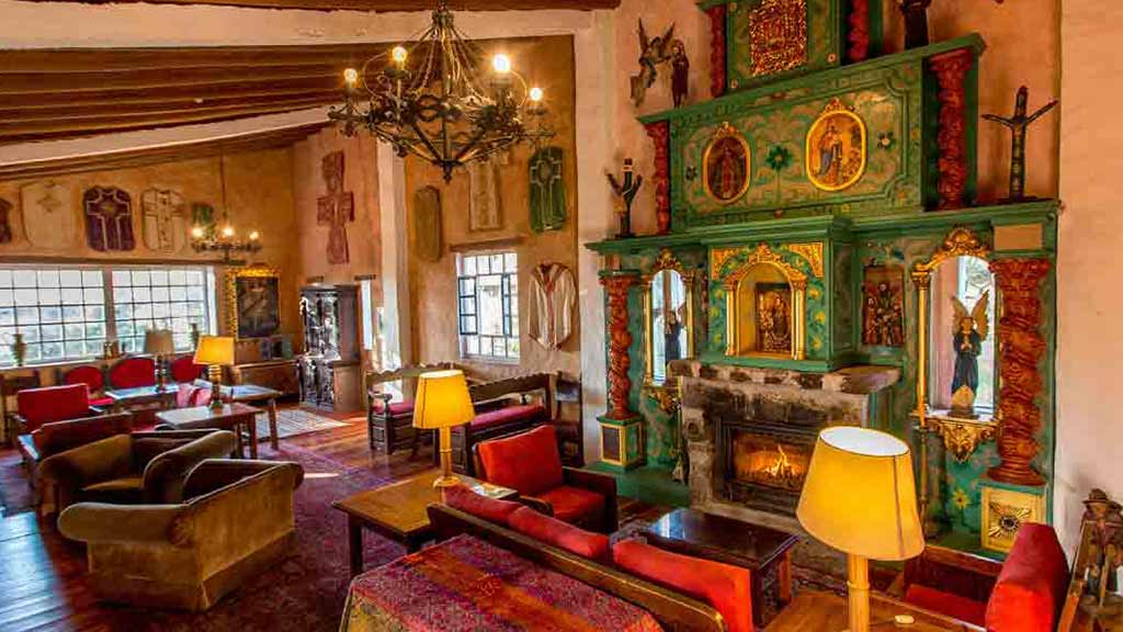 hacienda cusin fireplace and elegant colonial style guest social lounge