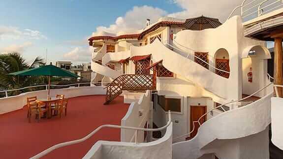 upper terrace at Hotel Mainao, Puerto Ayora, Santa Cruz, Galapagos
