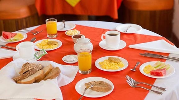Hotel Mainao fruit, eggs and bread for breakfast