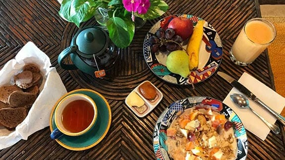tasty and filling breakfast at hotel casa del lago galapagos