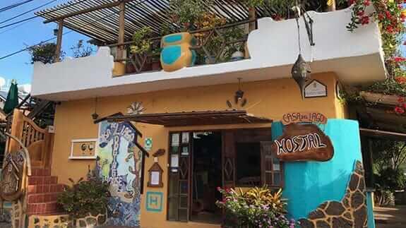 casa del lago hotel entrance at puerto ayora town
