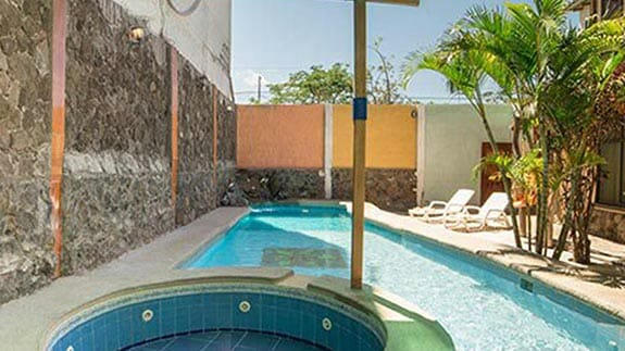 hotel miconia open air swimming pool and jacuzzi, baquerizo moreno town galapagos